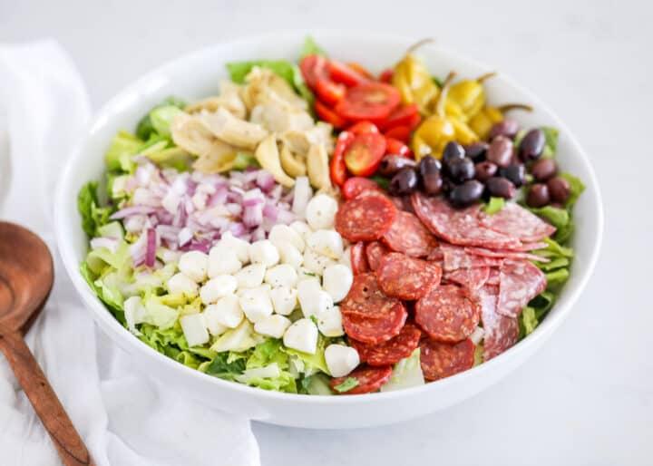 antipasto salad in big bowl