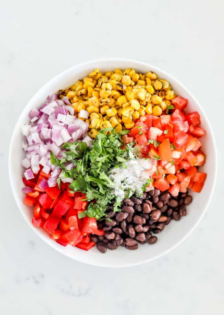 black bean salsa ingredients in white bowl