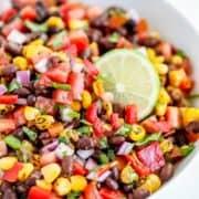 black bean salsa in white bowl
