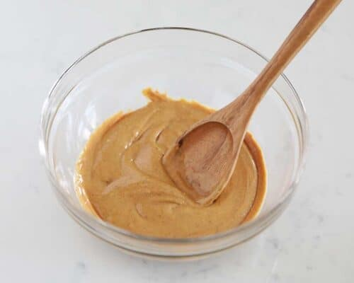 mixing peanut butter in a bowl