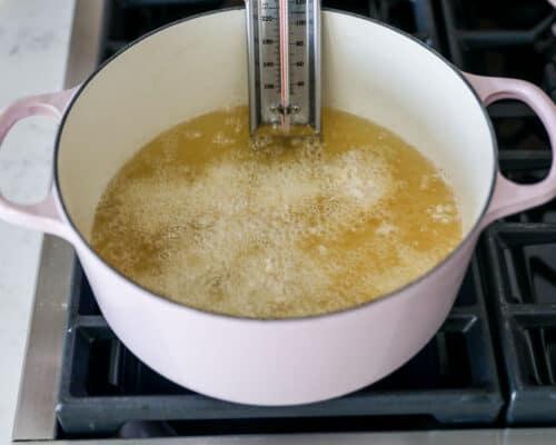 oil bubbling in pot