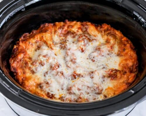 cooked lasagna in crockpot