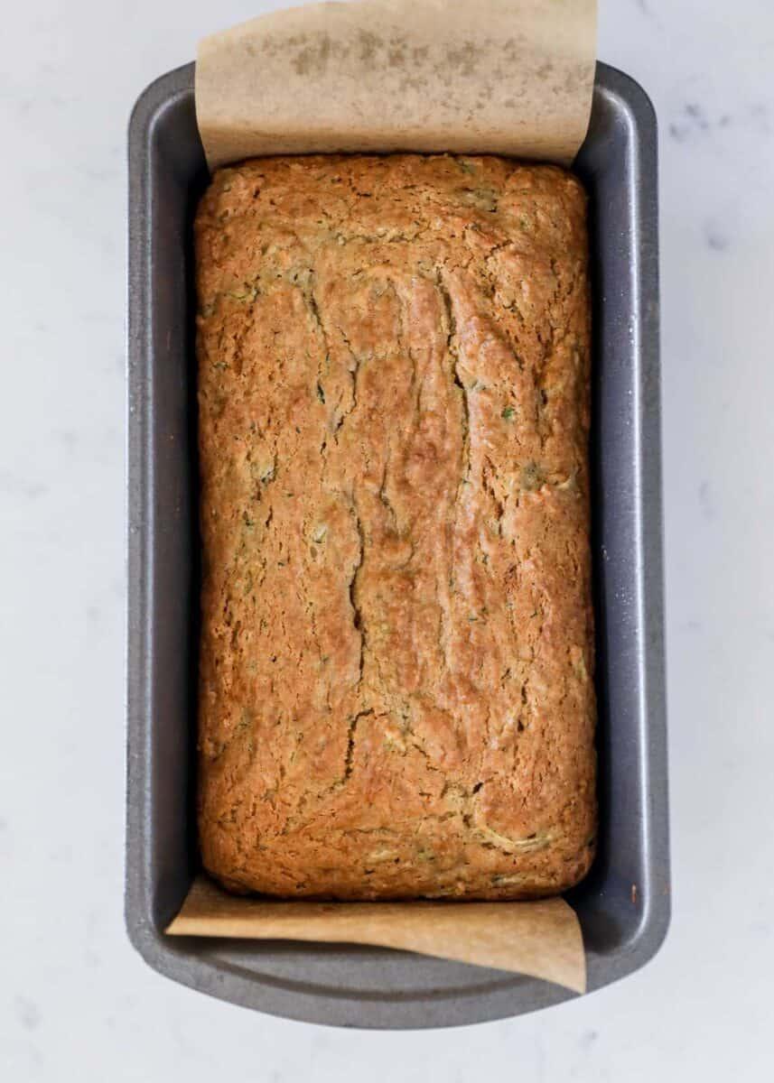 zucchini bread loaf in pan