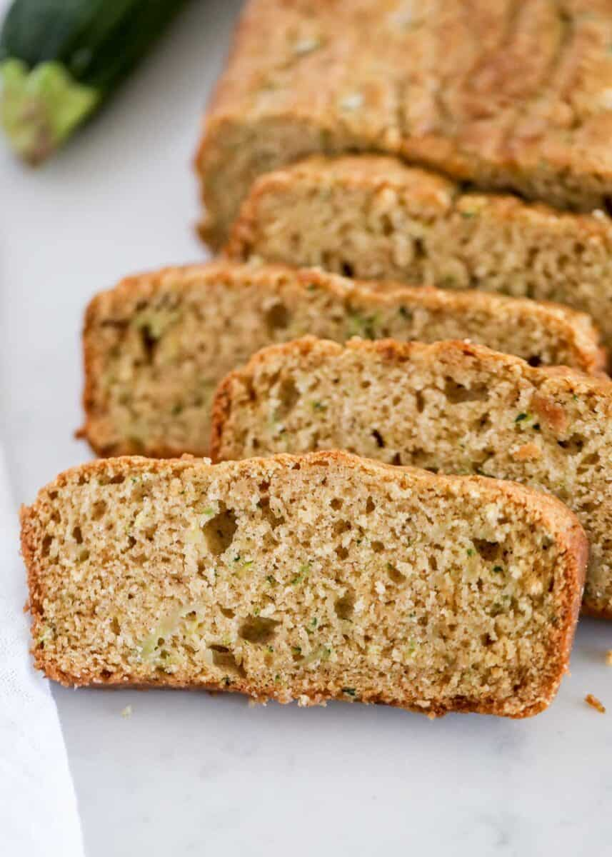 zucchini bread on counter