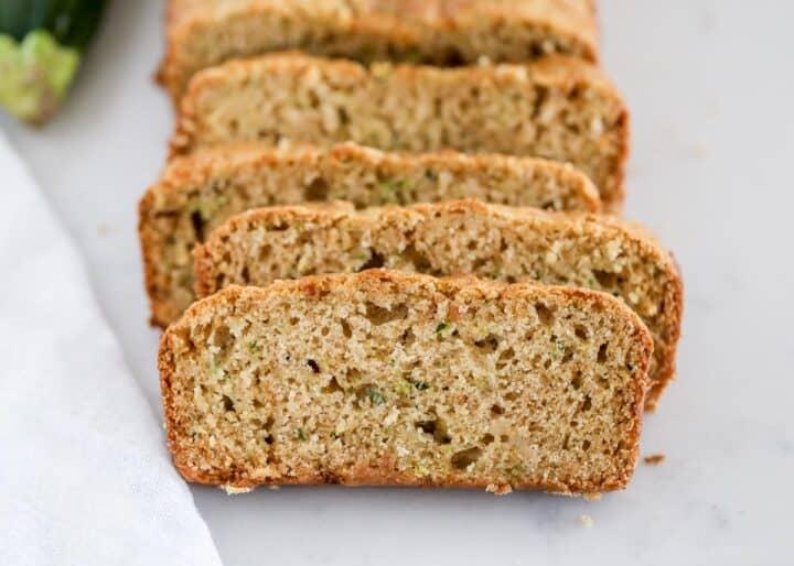 zucchini bread slices on counter