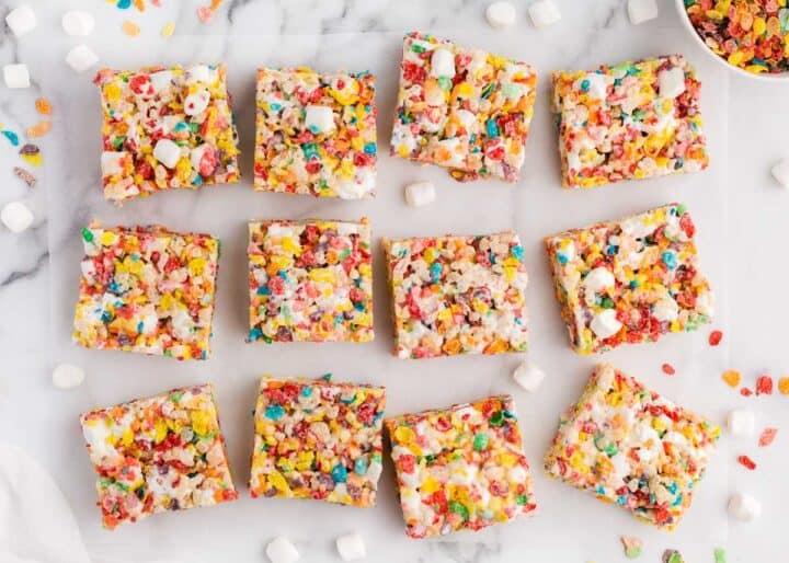 sliced fruity pebbles treats on counter