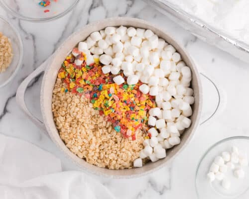 rice krispies, fruity pebbles and marshmallows in bowl