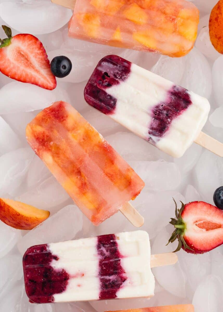 popsicles on ice with fresh fruit