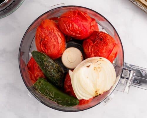 roasted vegetables in food processor