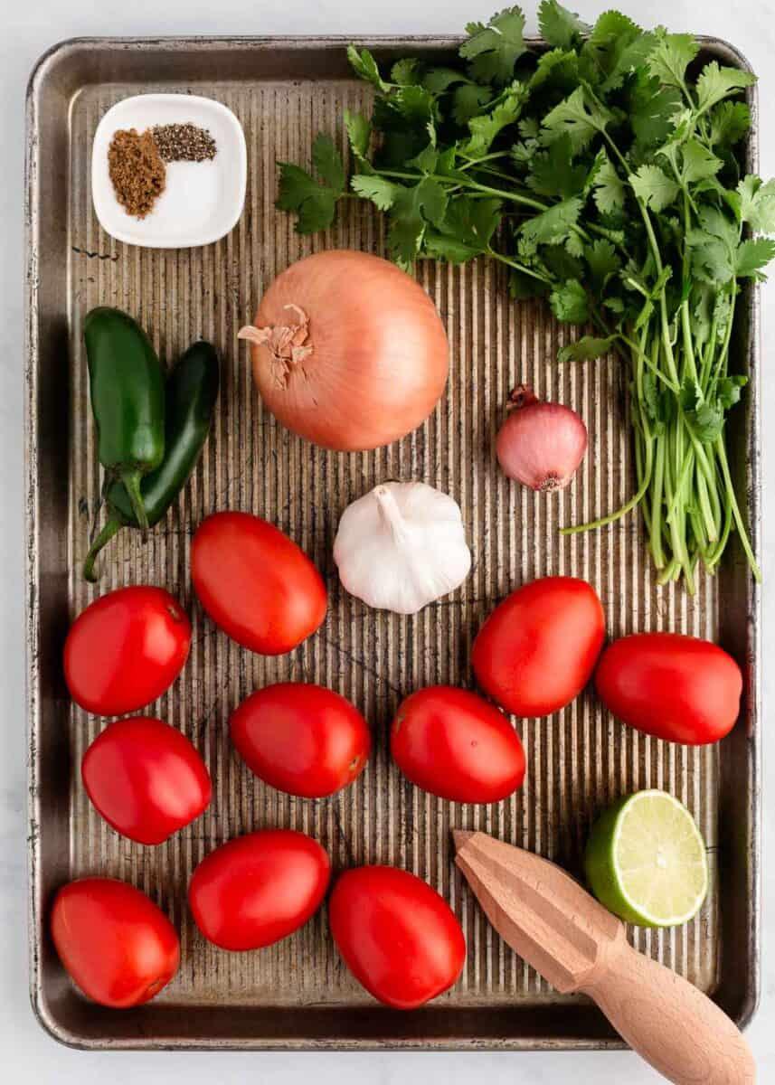 salsa ingredients on baking sheet