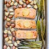 salmon, potatoes and asparagus on sheet pan