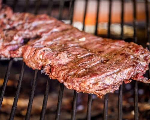 skirt steak on the grill
