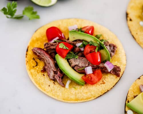 skirt steak taco on counter