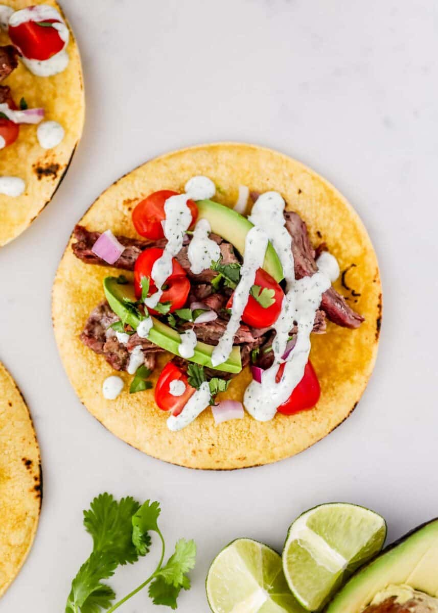 skirt steak taco with lime and cilantro
