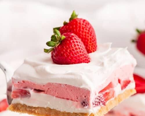 slice of strawberry lasagna