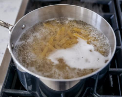 noodles boiling in pot of water