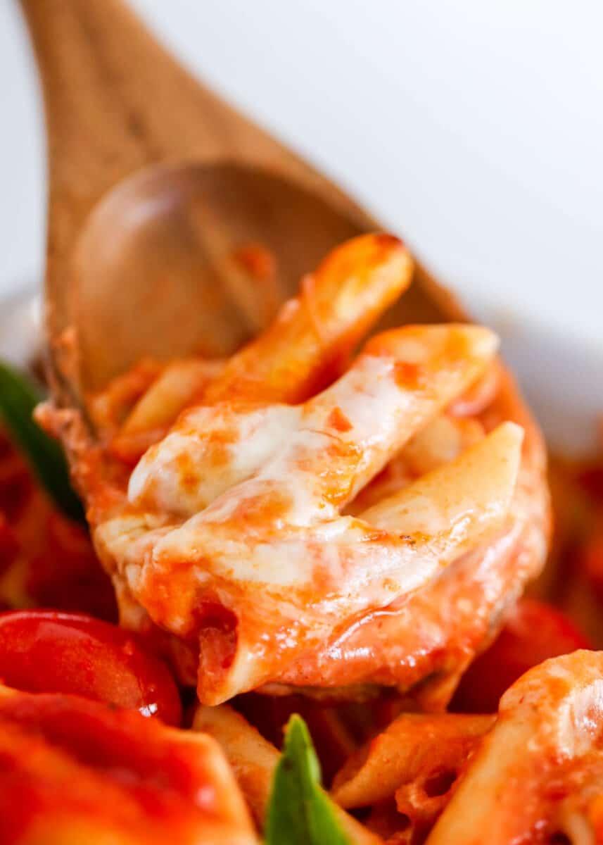 spoonful of caprese pasta