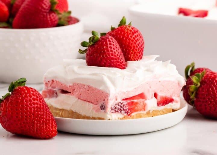 strawberry lasagna on white plate