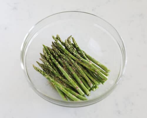 asparagus in clear bowl