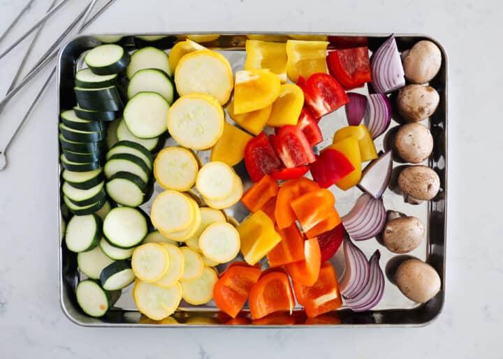 vegetables on pan