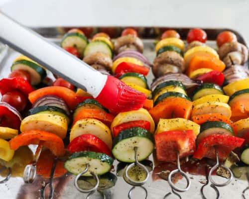 vegetable skewers on pan
