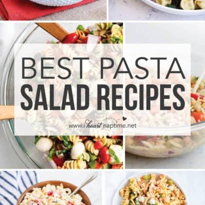 collage of pasta salad recipes