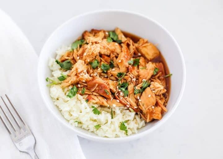 teriyaki chicken and rice in white bowl