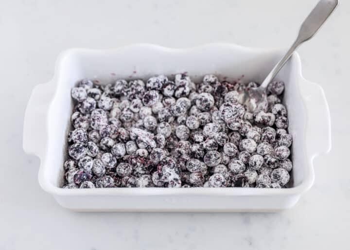 blueberries in white baking dish