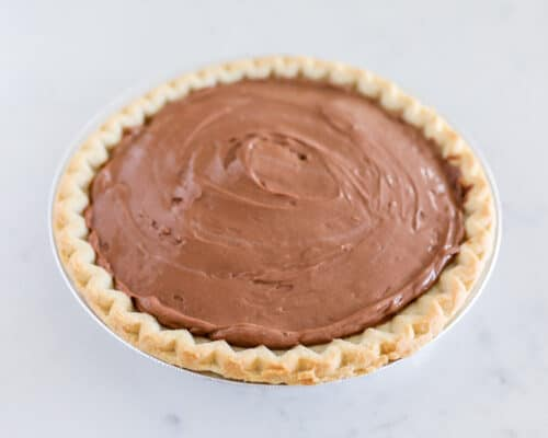 chocolate pudding pie on counter