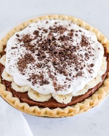 chocolate banana cream pie on counter