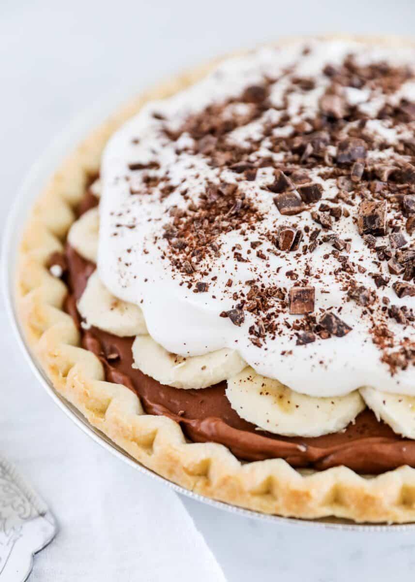 close up of chocolate banana cream pie