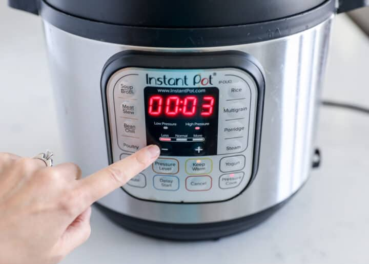 instant pot turned on to 3 minutes