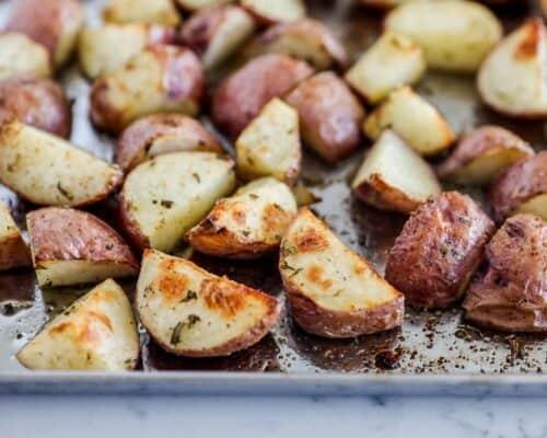 roasted potatoes on metal baking sheet