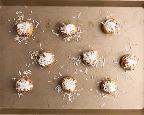 almond joy cookie dough balls on pan