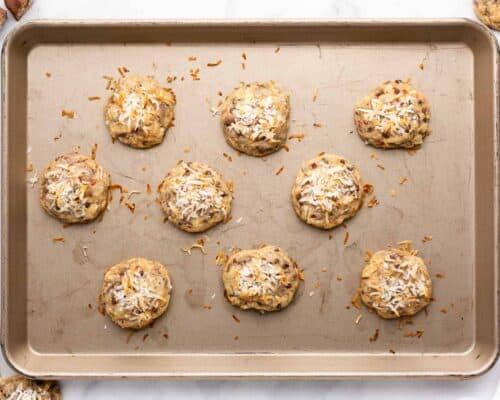almond joy cookies on pan