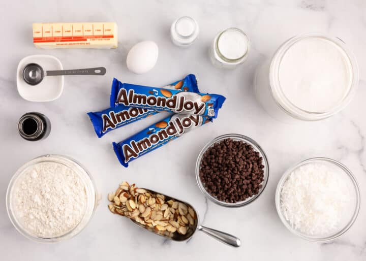 almond joy ingredients on counter