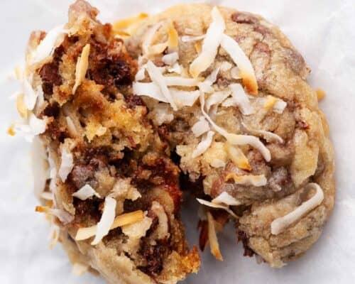 almond joy cookie cut in half