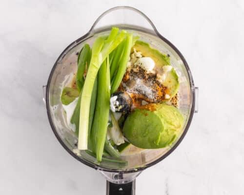 avocado lime ingredients in food processor