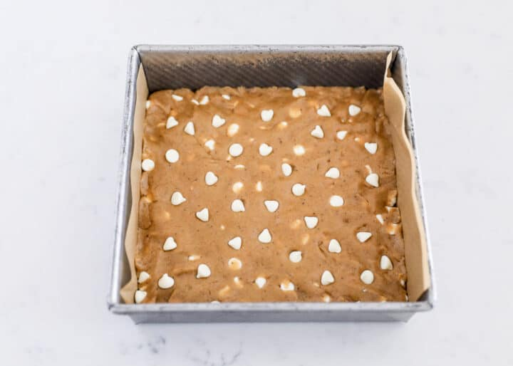 brown butter cookie dough in pan