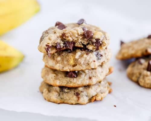 stacked banana chocolate chip cookies