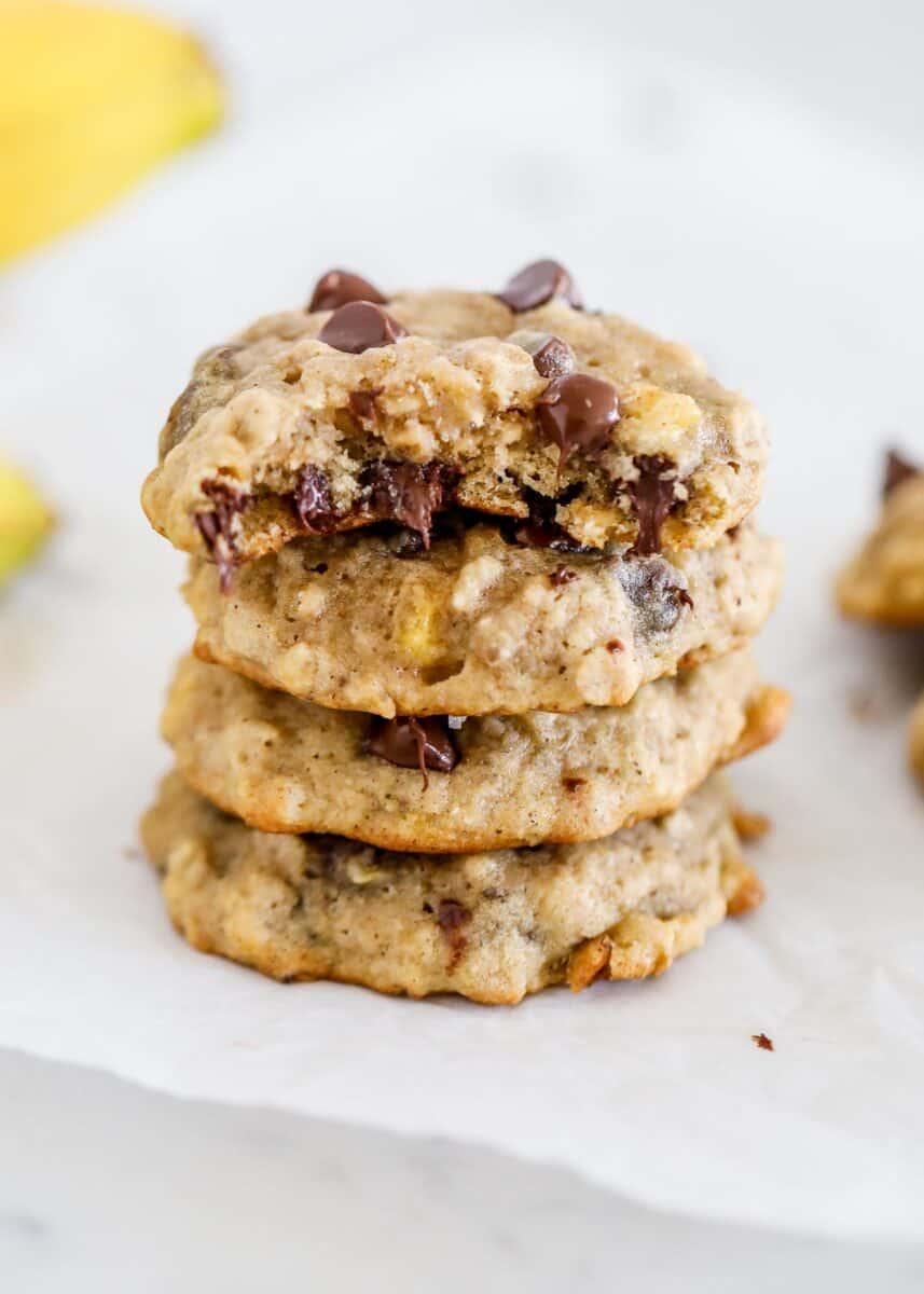 stack of banana chocolate chip cookies