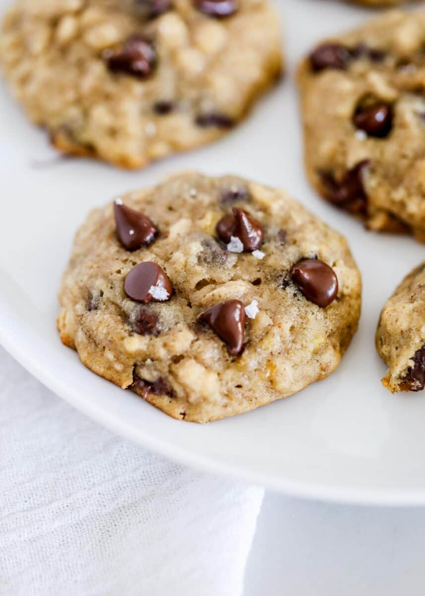 banana chocolate chip cookie on white plate