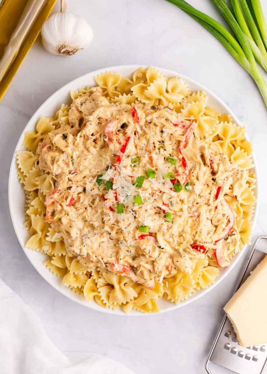 big bowl of creamy chicken pasta