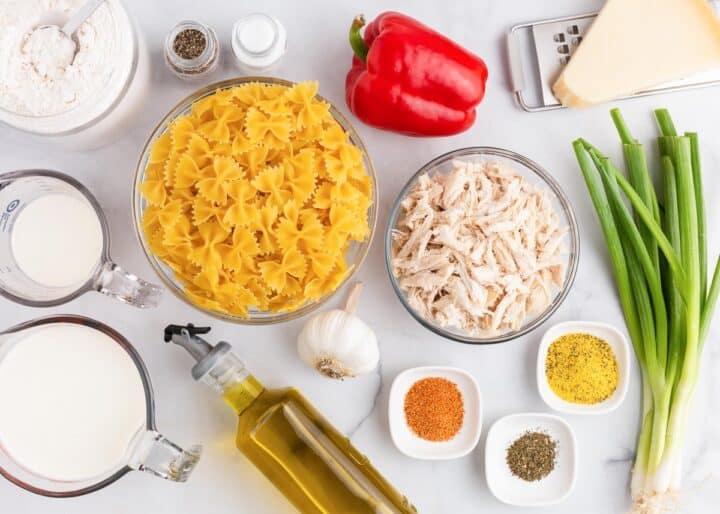 pasta ingredients on counter