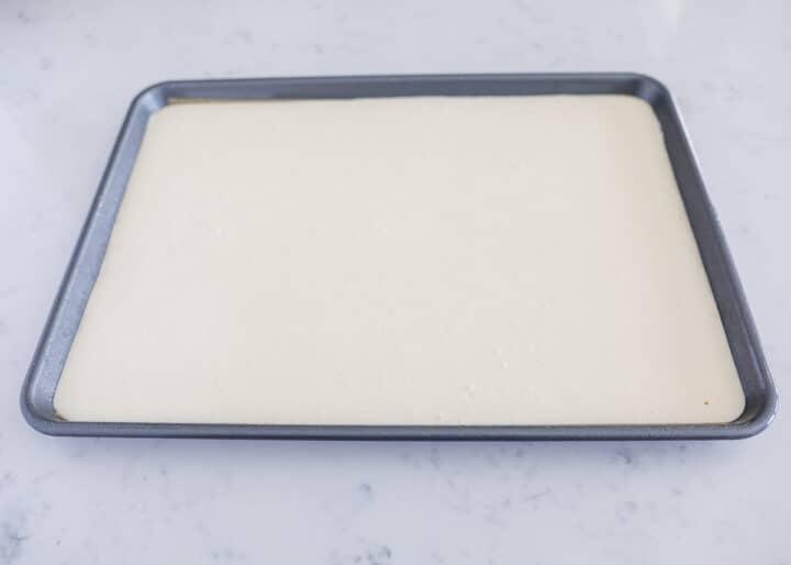 pancake batter in sheet pan