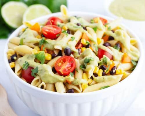 southwest pasta salad in white bowl