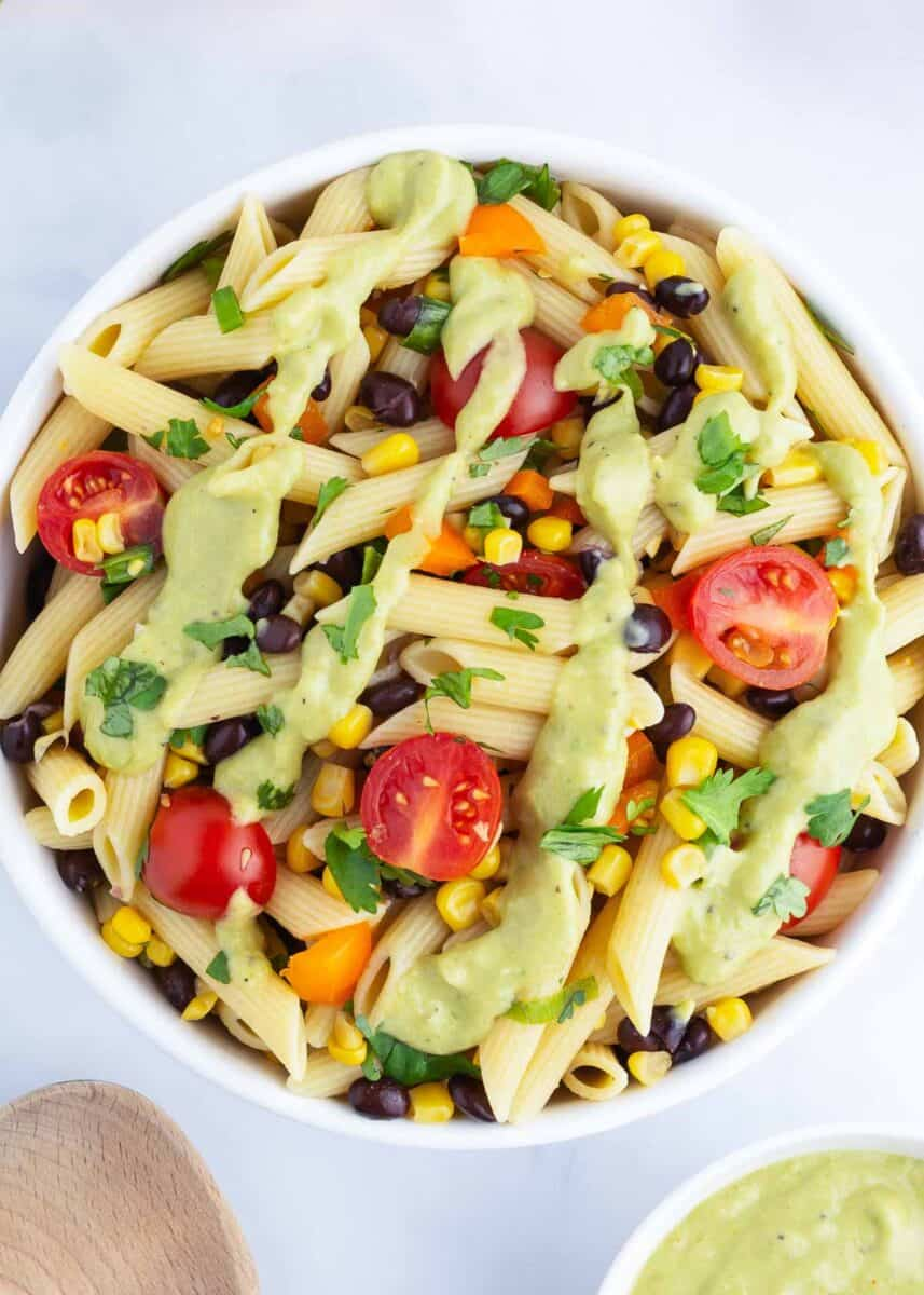southwest pasta salad in bowl