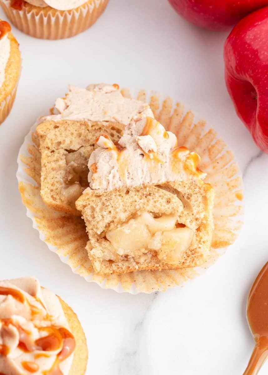 apple pie cupcake cut in half