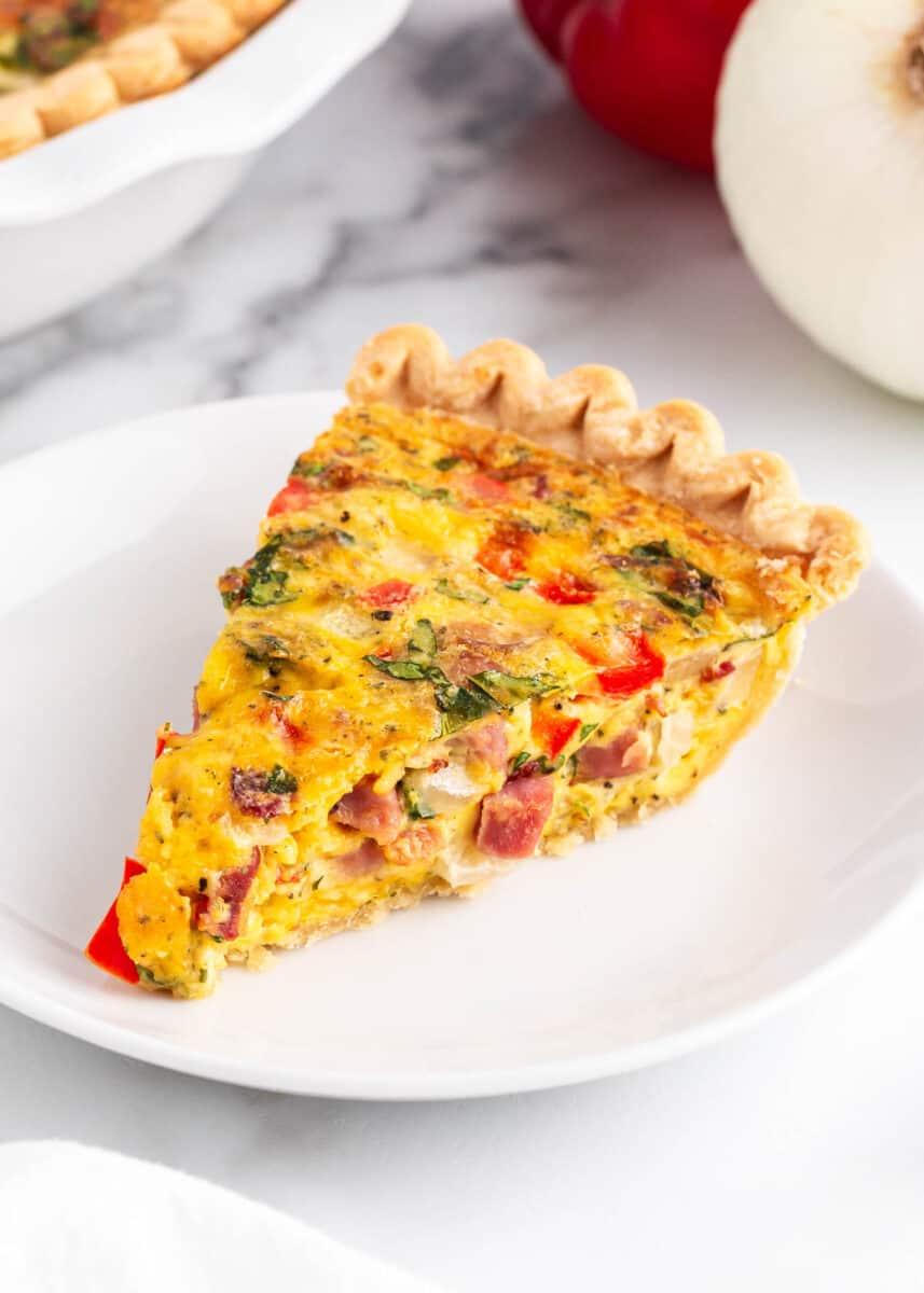 slice of breakfast pie on white plate