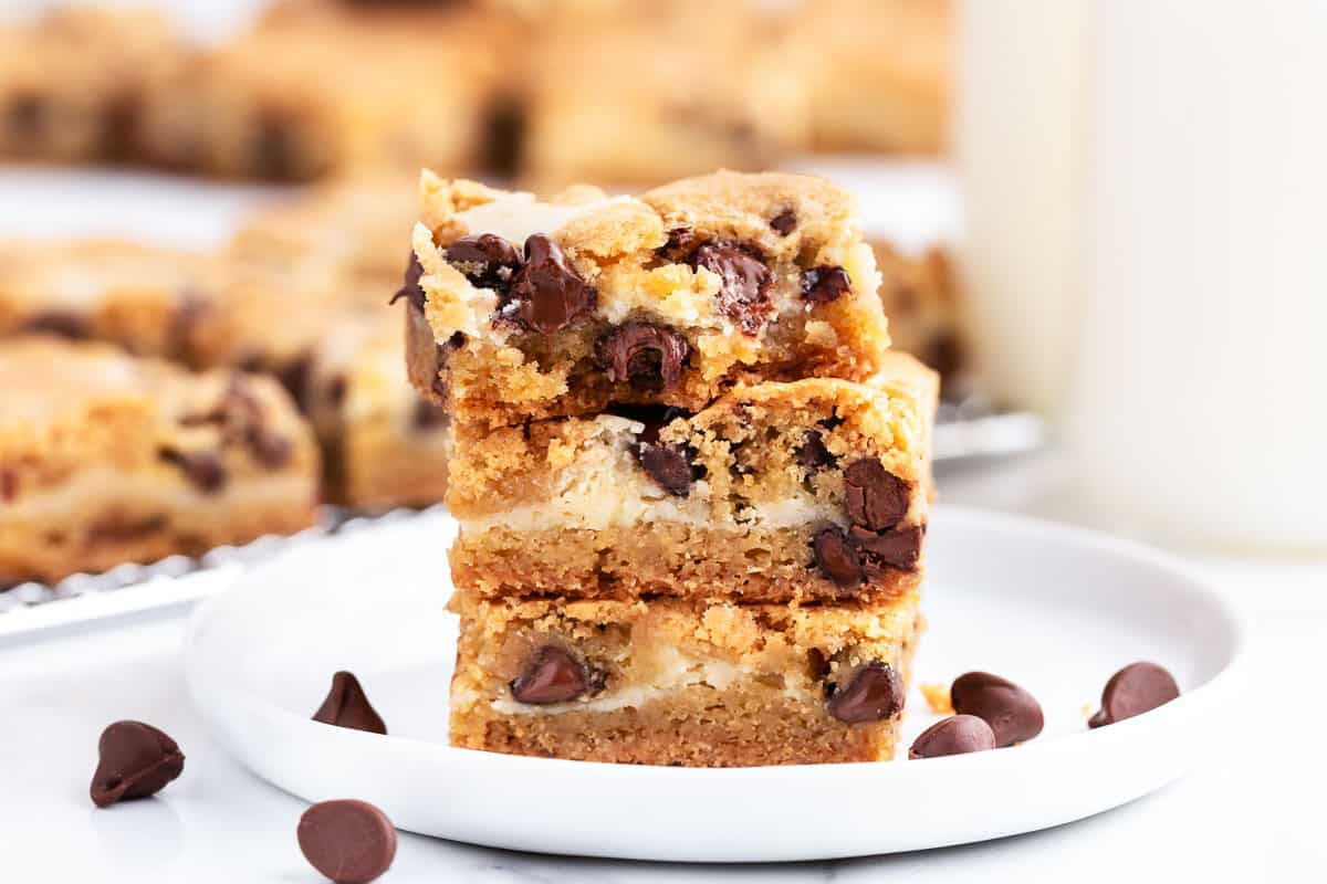 stack of cookie bars on white plate